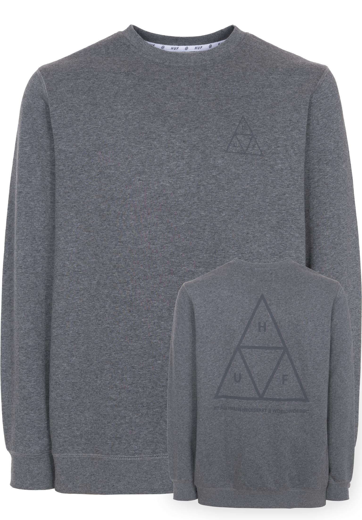 4ec15ea4ce960 Triple Triangle HUF Sweaters and Sweatshirts in greyheather for Men | Titus