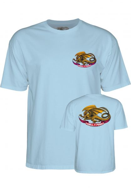 Powell-Peralta T-Shirts Oval Dragon lightblue Vorderansicht