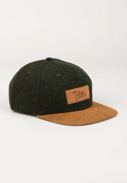 TITUS Caps Steve Leather Snapback Kids olive-camel vorderansicht 0565783
