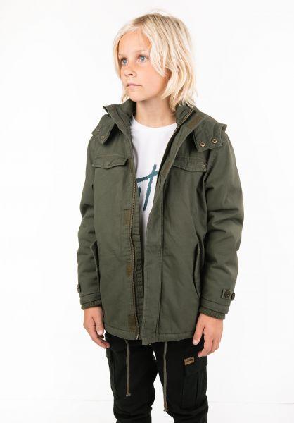 TITUS Winterjacken Parka Kids darkolive vorderansicht 0123158