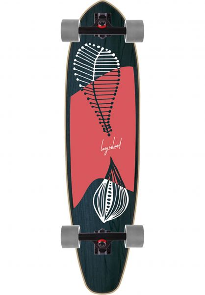 Long Island Longboards komplett Leaves 37.85´´ Kicktail blue-red vorderansicht 0194314
