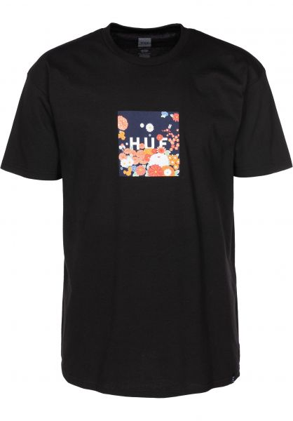 HUF T-Shirts Memorial Box Logo black vorderansicht 0398925