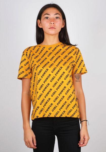 Dedicated T-Shirts Mysen Girl Power mustard vorderansicht 0398673