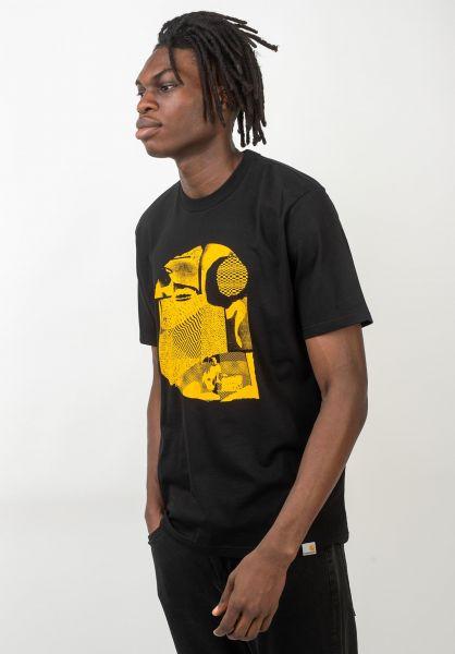 Carhartt WIP T-Shirts Cut Out black-yellow vorderansicht 0320606