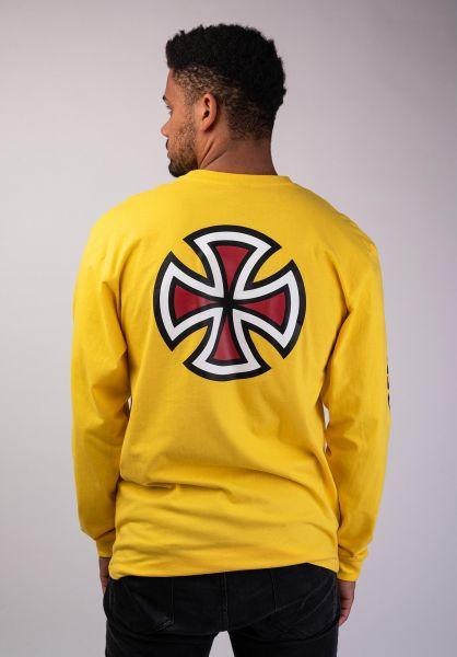 Independent Longsleeves Bar Cross Sleeveprint yellow vorderansicht 0382674
