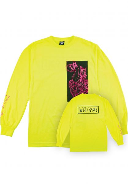 Welcome Longsleeves Rubberneck safety green-pink Vorderansicht