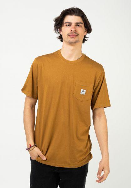 Element T-Shirts Basic Pocket Label goldbrown vorderansicht 0398847