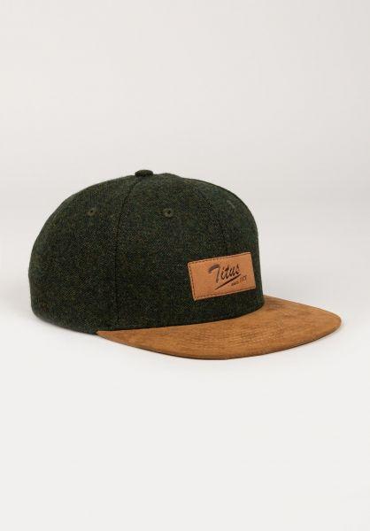 TITUS Caps Steve Leather Snapback olive-camel vorderansicht 0565126