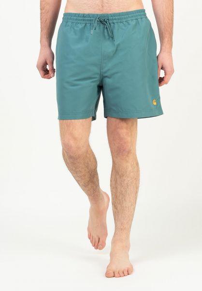 Carhartt WIP Beachwear Chase Swim Trunk hydro-gold vorderansicht 0205282