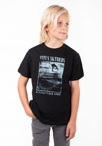 TITUS T-Shirts Manufactured Goods Kids black vorderansicht 0397390