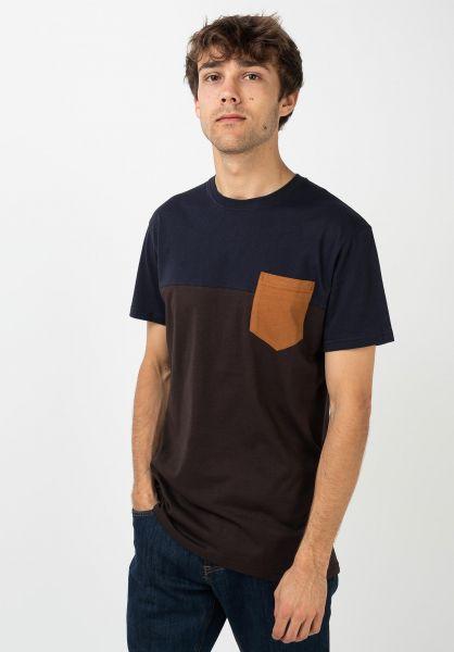 iriedaily T-Shirts Block Pocket chocolate vorderansicht 0394022