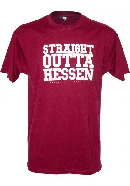 GUDE T-Shirts Straight Outta Hessen maroon Vorderansicht