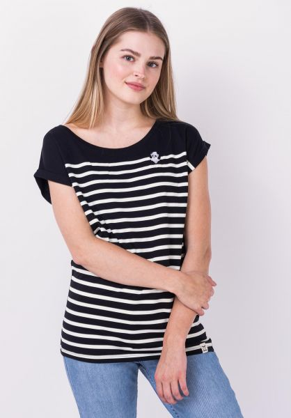 iriedaily T-Shirts Panda Stripe black vorderansicht 0322269