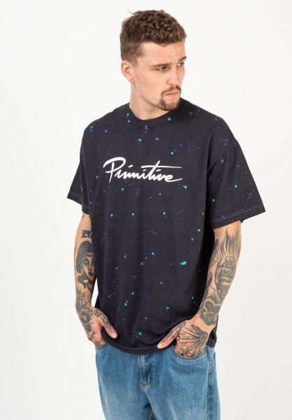 Primitive Skateboards T-Shirts Nuevo Puff Washed black-purple vorderansicht 0322785