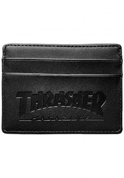 Thrasher Portemonnaie Card Leather black Vorderansicht