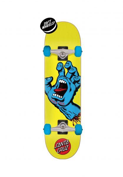 Santa-Cruz Skateboard komplett Screaming Hand Mini yellow vorderansicht 0162516