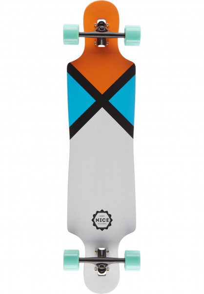 Nice Skateboards Longboards komplett Sign white-orange Vorderansicht