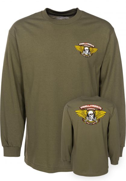 Powell-Peralta Longsleeves Winged Ripper military-green Vorderansicht