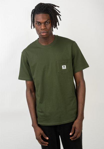 Element T-Shirts Basic Pocket Label olivedrab vorderansicht 0398847