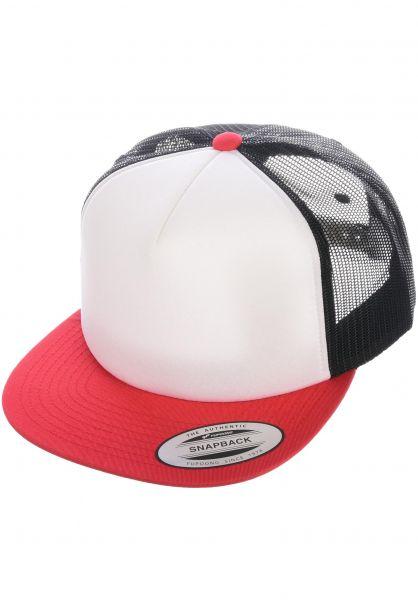 Flexfit Caps Foam Trucker Flat red-white-black vorderansicht 0566386