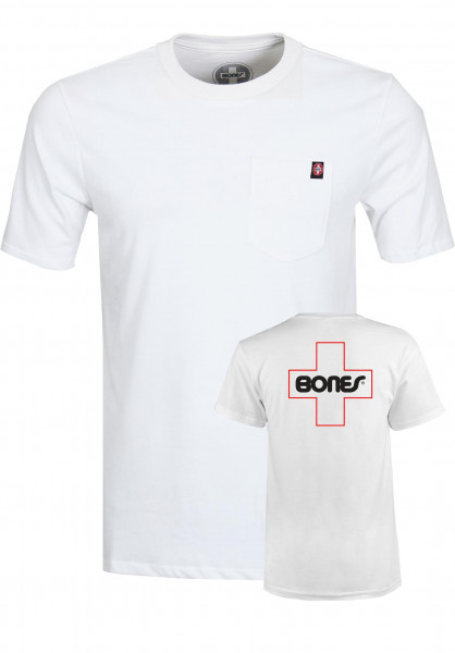 Bones Bearings T-Shirts Swiss Outline Pocket white Vorderansicht