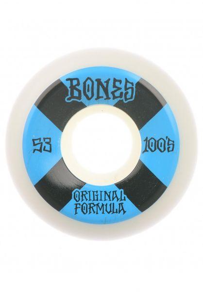 Bones Wheels Rollen 100´s OG #4 V5 Sidecut 100A white-blue vorderansicht 0135063
