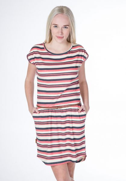 alife and kickin Kleider Thea coral-creme-stripes vorderansicht 0801453