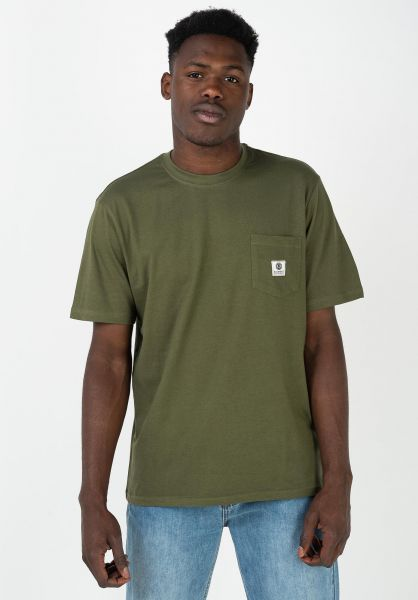 Element T-Shirts Basic Pocket Label army vorderansicht 0398847
