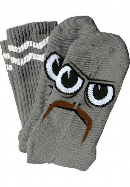 Toy-Machine Socken Turtleboy Stache grey Vorderansicht