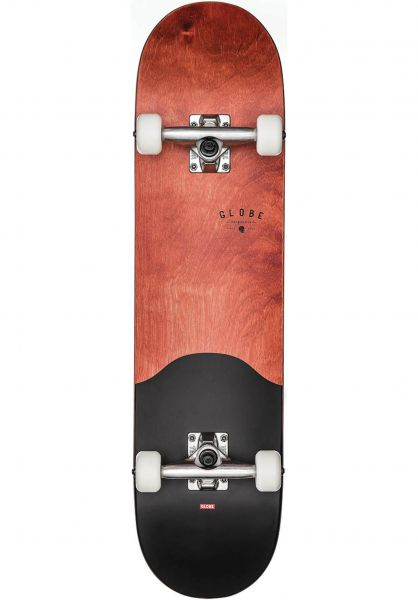 Globe Skateboard komplett Argo redmaple-black Vorderansicht