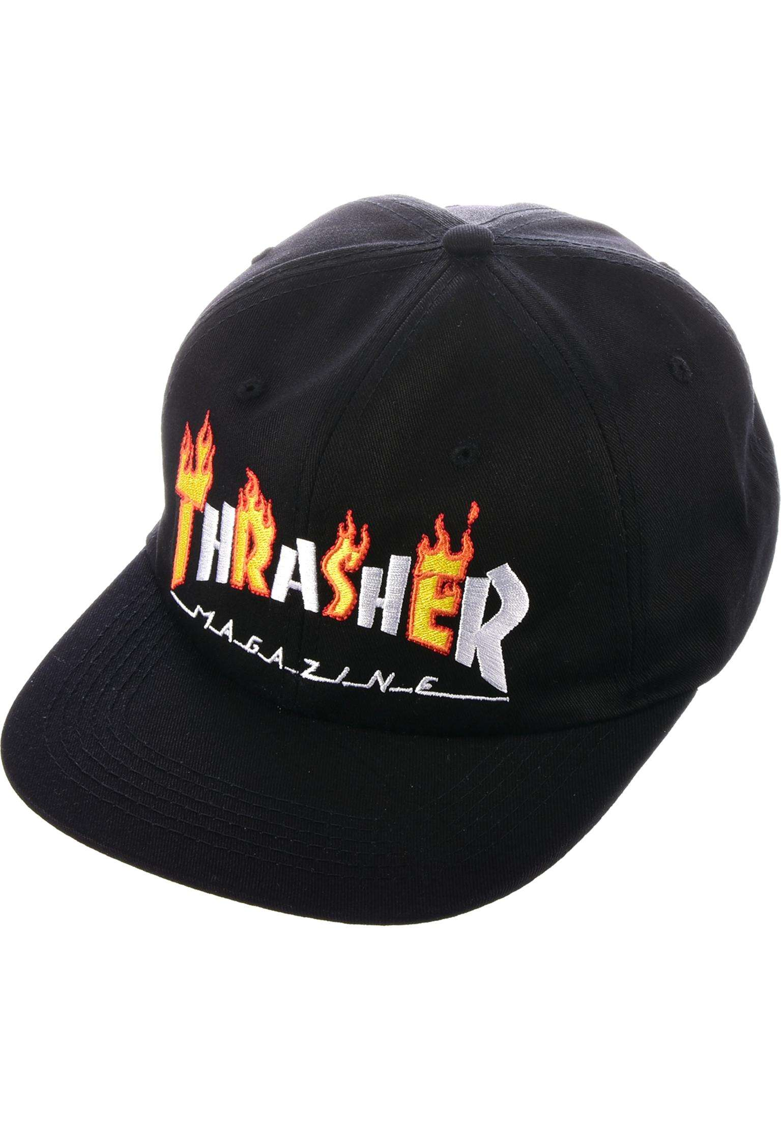 a96b793c99f Flame Mag Snapback Thrasher Caps in black for Men