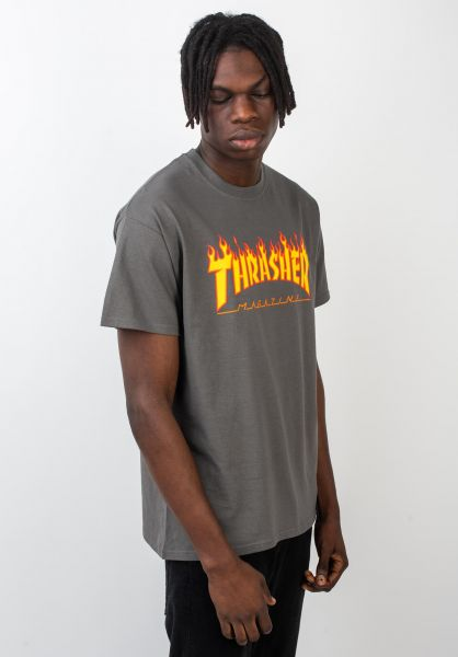 Thrasher T-Shirts Flame charcoal vorderansicht 0036093