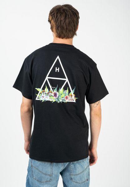 HUF T-Shirts Botanical Garden TT black vorderansicht 0322598