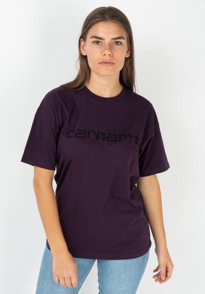 Carhartt WIP T-Shirts W´ Script boysenberry-black vorderansicht 0035956