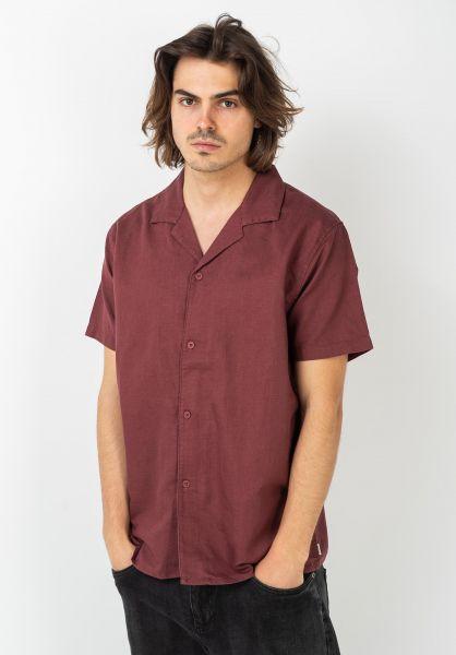 Rhythm Hemden kurzarm Linen Cuban Shirt raisin vorderansicht 0400994