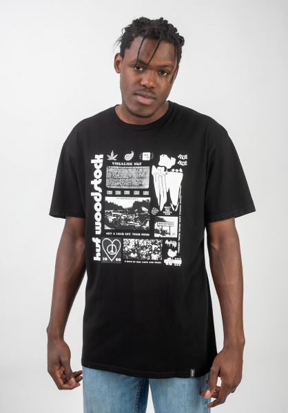HUF T-Shirts x Woodstock Visualize black vorderansicht 0320646