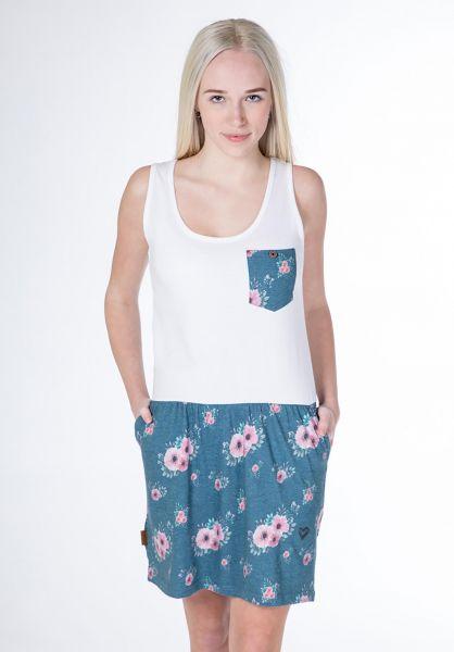 alife and kickin Kleider Rosalie smaragd-flowers vorderansicht 0801452
