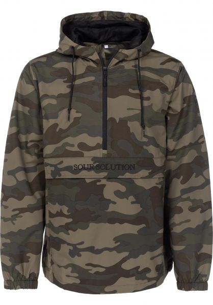 Sour Skateboards Windbreaker Solution Anorak camo-black Vorderansicht