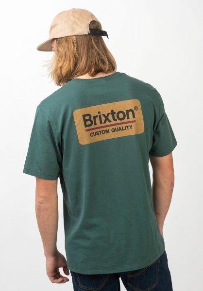 Brixton T-Shirts Palmer emerald-gold vorderansicht 0397344