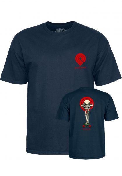 Powell-Peralta T-Shirts Tucking Skeleton navy Vorderansicht