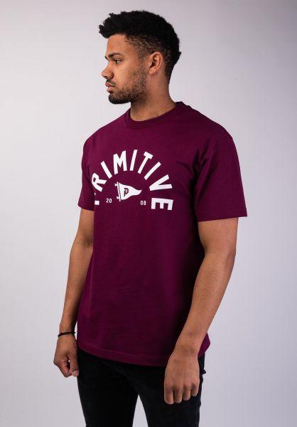 Primitive Skateboards T-Shirts Big Arch Pennant burgundy vorderansicht 0320099