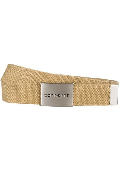 Carhartt WIP Gürtel Clip Belt Chrome leather Vorderansicht