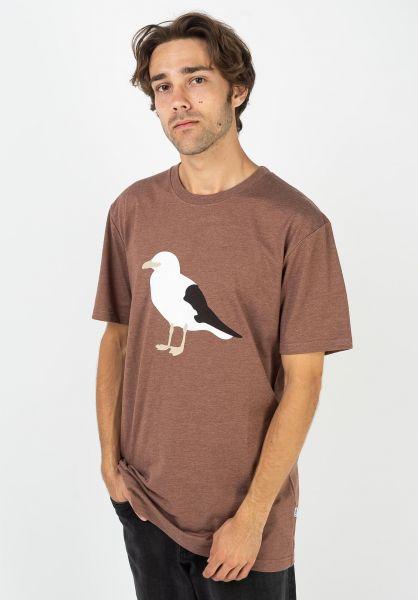 Cleptomanicx T-Shirts Gull heatherbrown vorderansicht 0374320