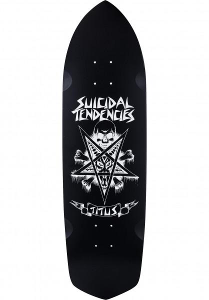 TITUS Skateboard Decks Pentagram Suicidal Collabo black-white Vorderansicht