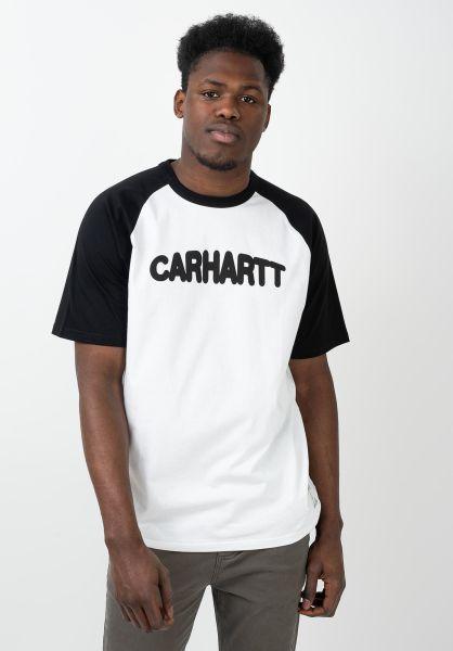 Carhartt WIP T-Shirts Acre Script white-black-black vorderansicht 0321224