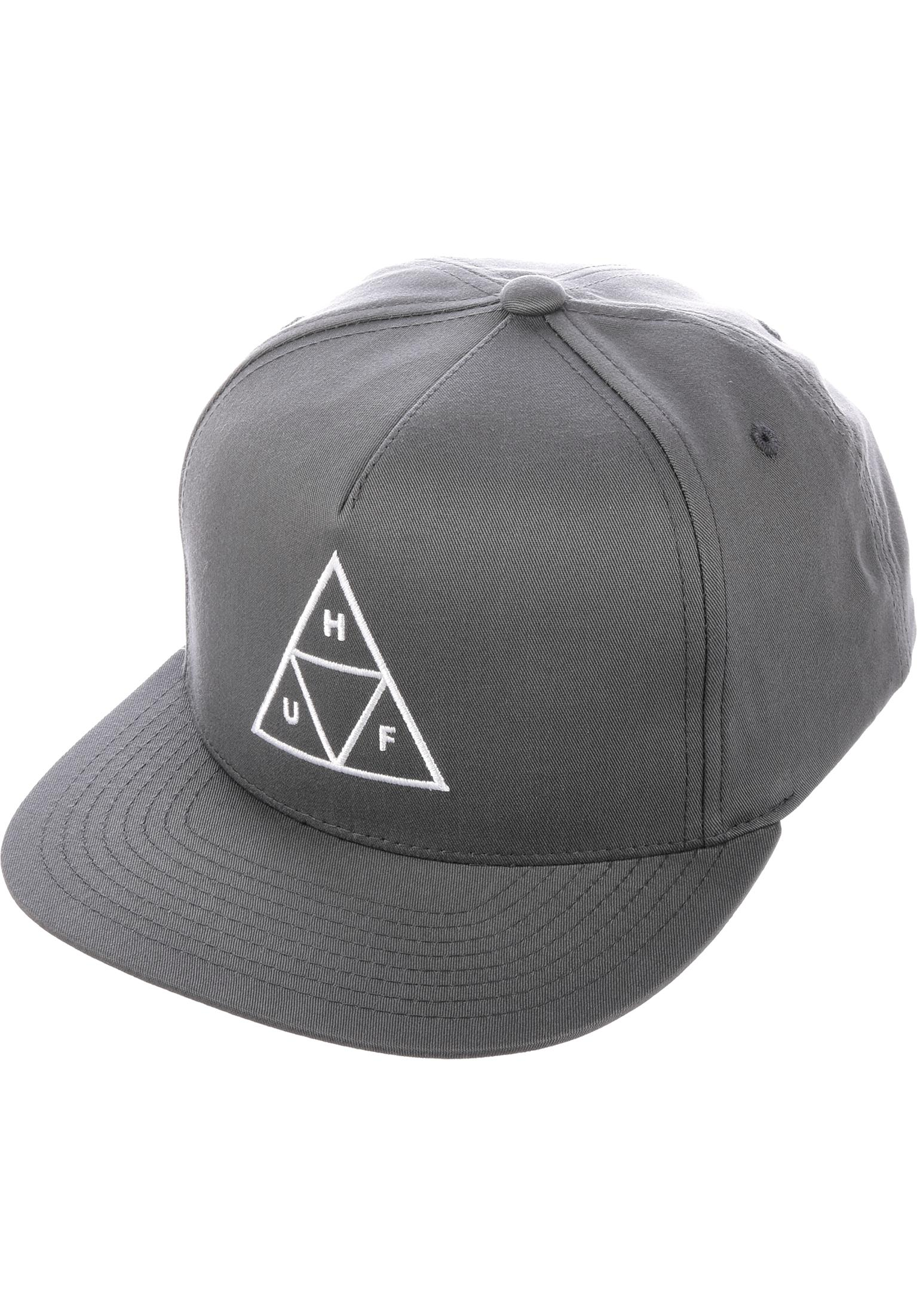 Triple Triangle Snapback HUF Caps in charcoal for Men  87d7c23eeb35