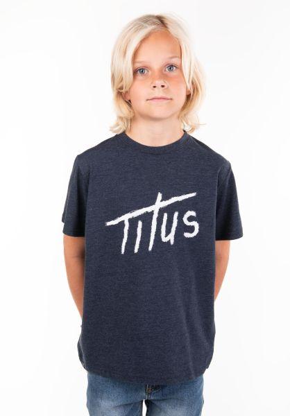 TITUS T-Shirts Brushed Letters Kids deepnavymottled vorderansicht 0397392