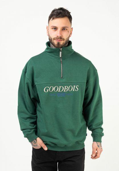 Goodbois Sweatshirts und Pullover Trademark Half Zip forest vorderansicht 0423108