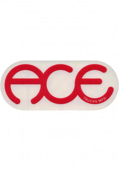 """Ace Verschiedenes Rings Logo Sticker 6"""" clear-red Vorderansicht"""