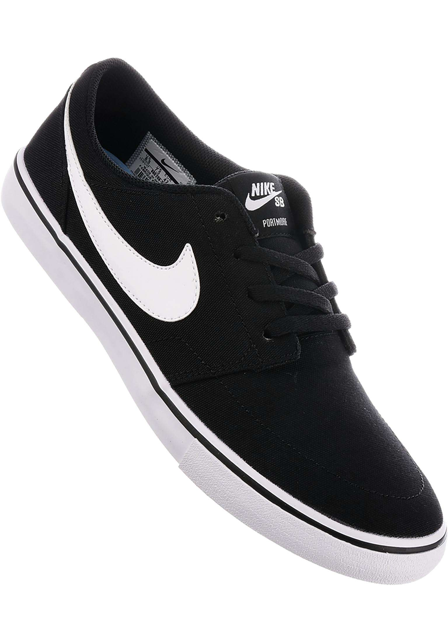 new style 5efc4 541e0 Solarsoft Portmore II CNVS Nike SB All Shoes in black-white for Men   Titus